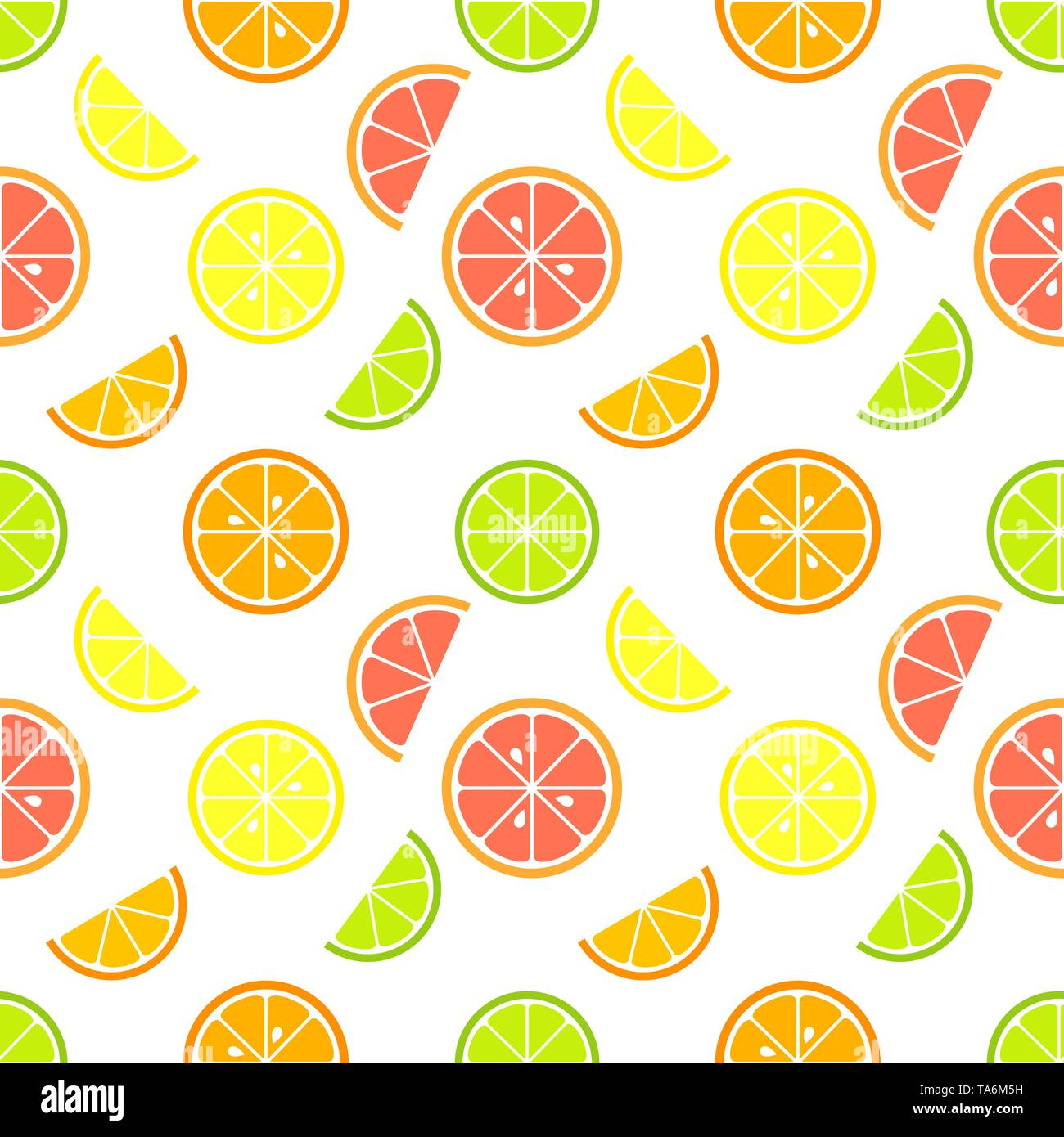 Citrus fruit slices seamless pattern. Vector illustration - Stock Image