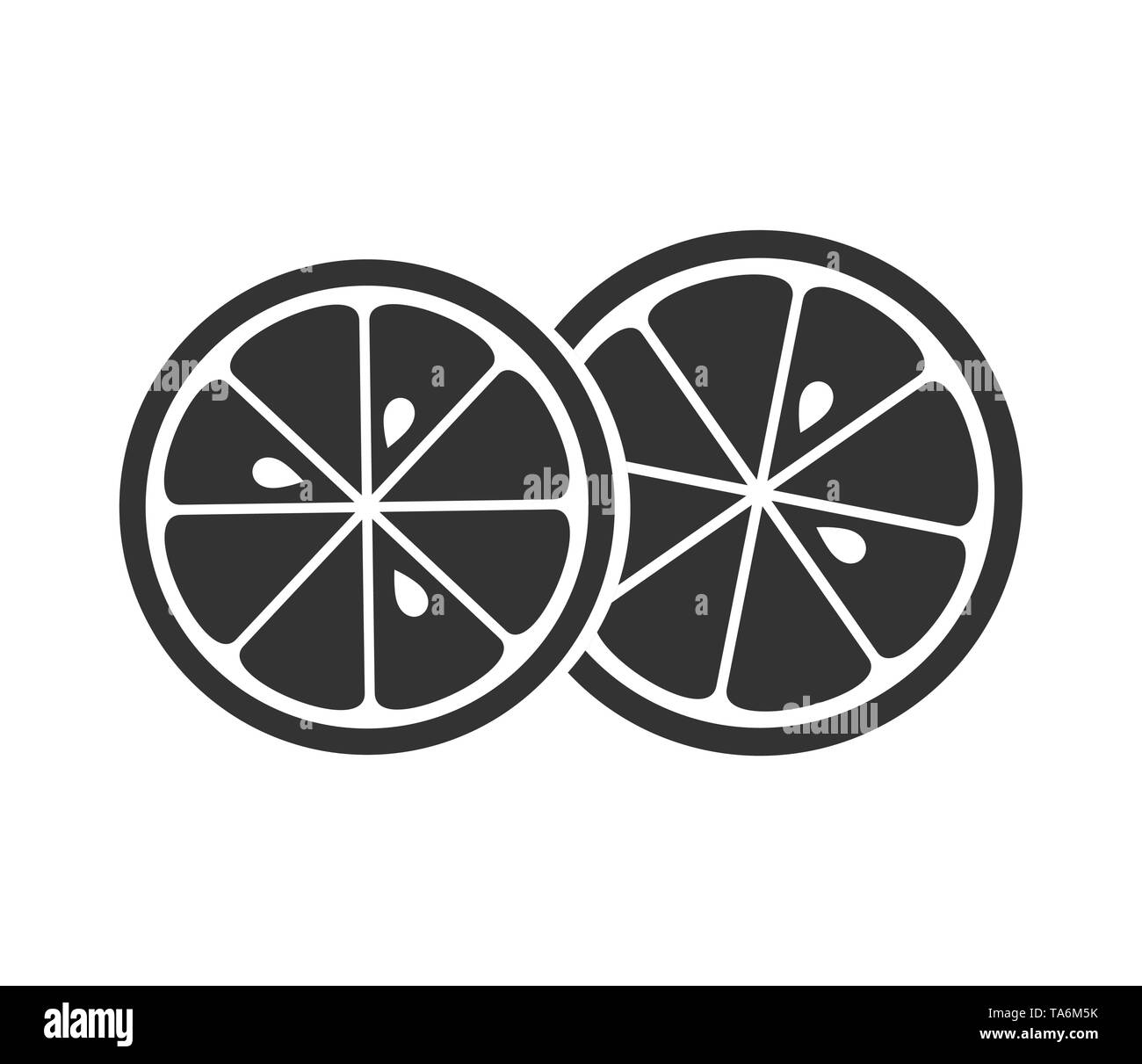 Two citrus slices icon. Vector illustration - Stock Image