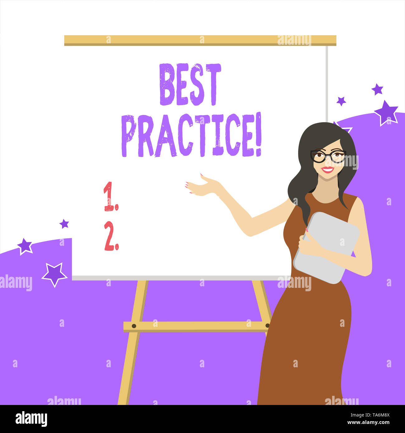 Handwriting text writing Best Practice. Conceptual photo commercial procedures that are accepted prescribed being correct White Female in Glasses Stan - Stock Image
