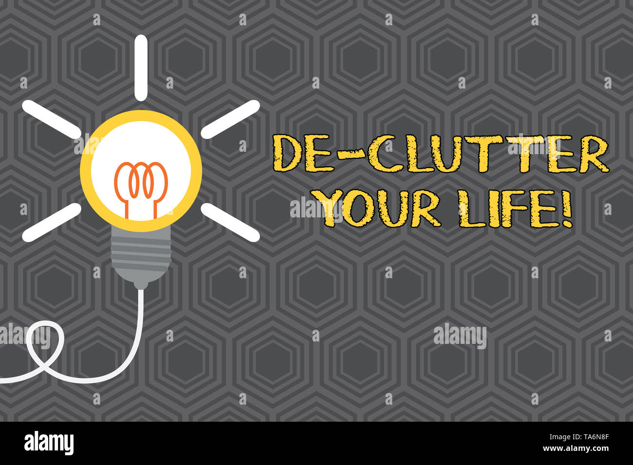 Writing note showing De Clutter Your Life. Business concept for remove unnecessary items from untidy or overcrowded places Idea light bulb Successful  - Stock Image