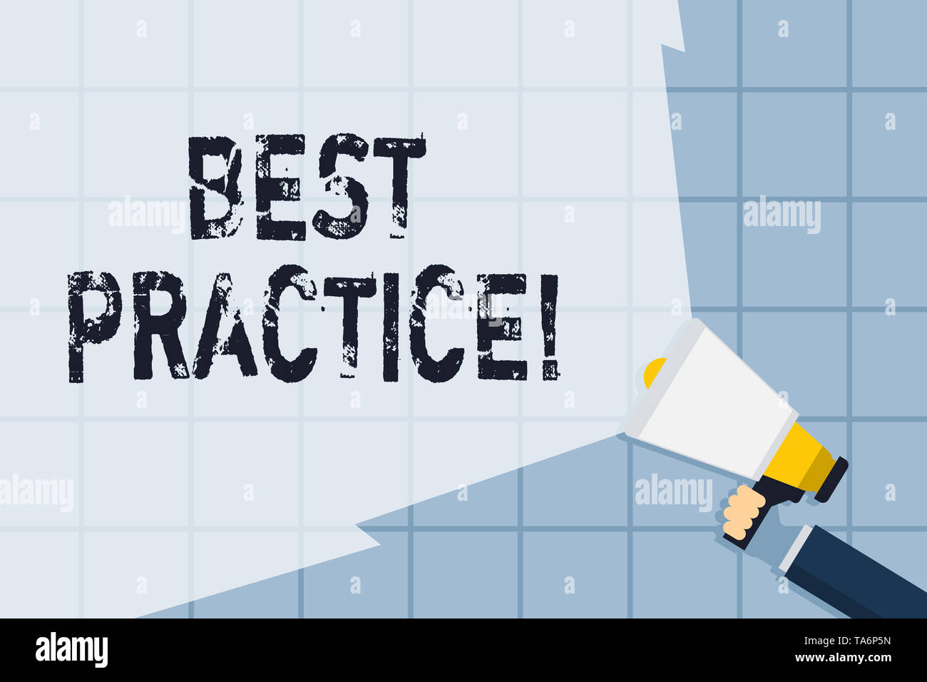 Conceptual hand writing showing Best Practice. Concept meaning commercial procedures that are accepted prescribed being correct Hand Holding Megaphone - Stock Image