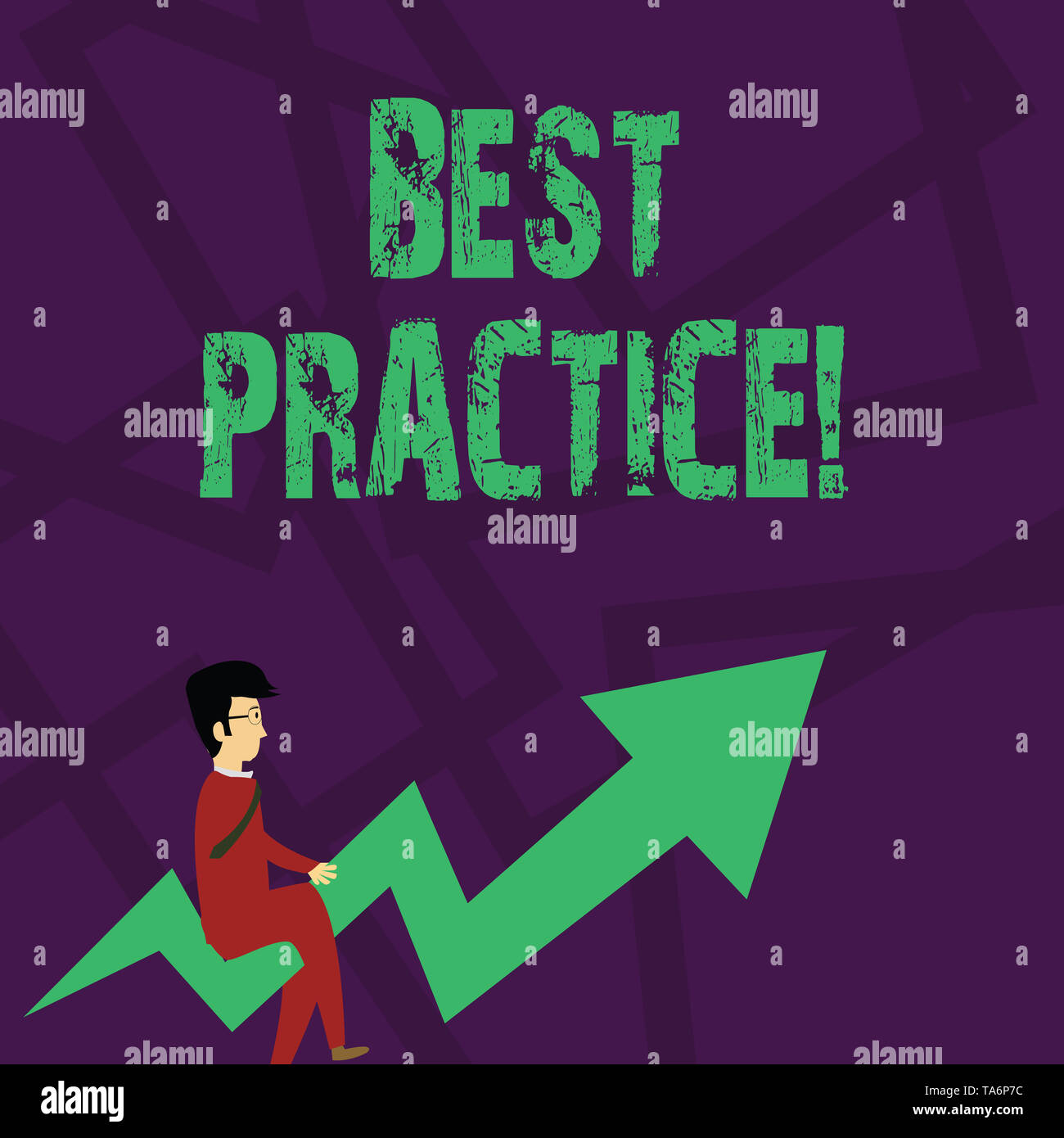 Text sign showing Best Practice. Business photo text commercial procedures that are accepted prescribed being correct Businessman with Eyeglasses Ridi - Stock Image