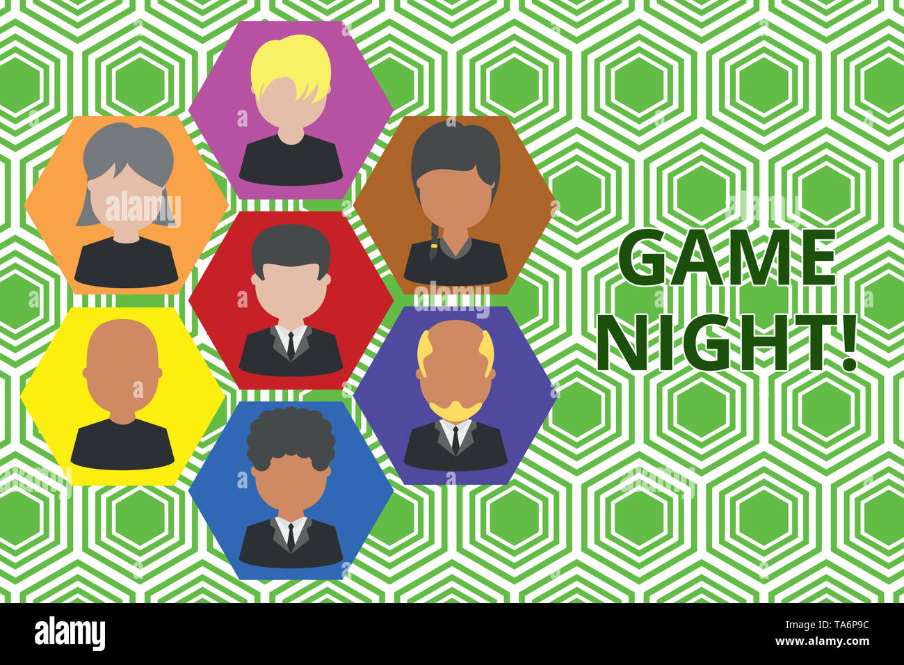 Handwriting text Game Night. Conceptual photo usually its called on adult play dates like poker with friends Pictures frames chief executive and staff - Stock Image