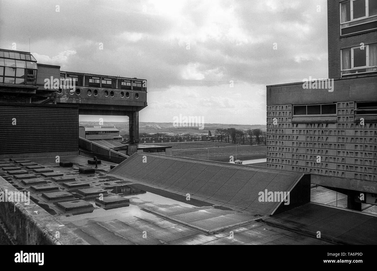 Black & white archive image of view out to surrounding countryside from centre of Cumbernauld New Town, April 1977. - Stock Image