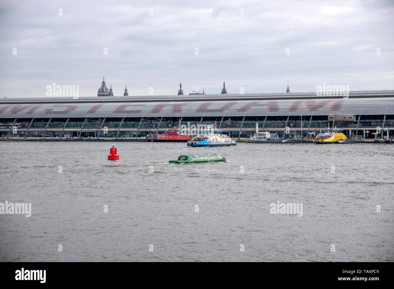 View On The IJ River At Amsterdam The Netherlands 2019 - Stock Image