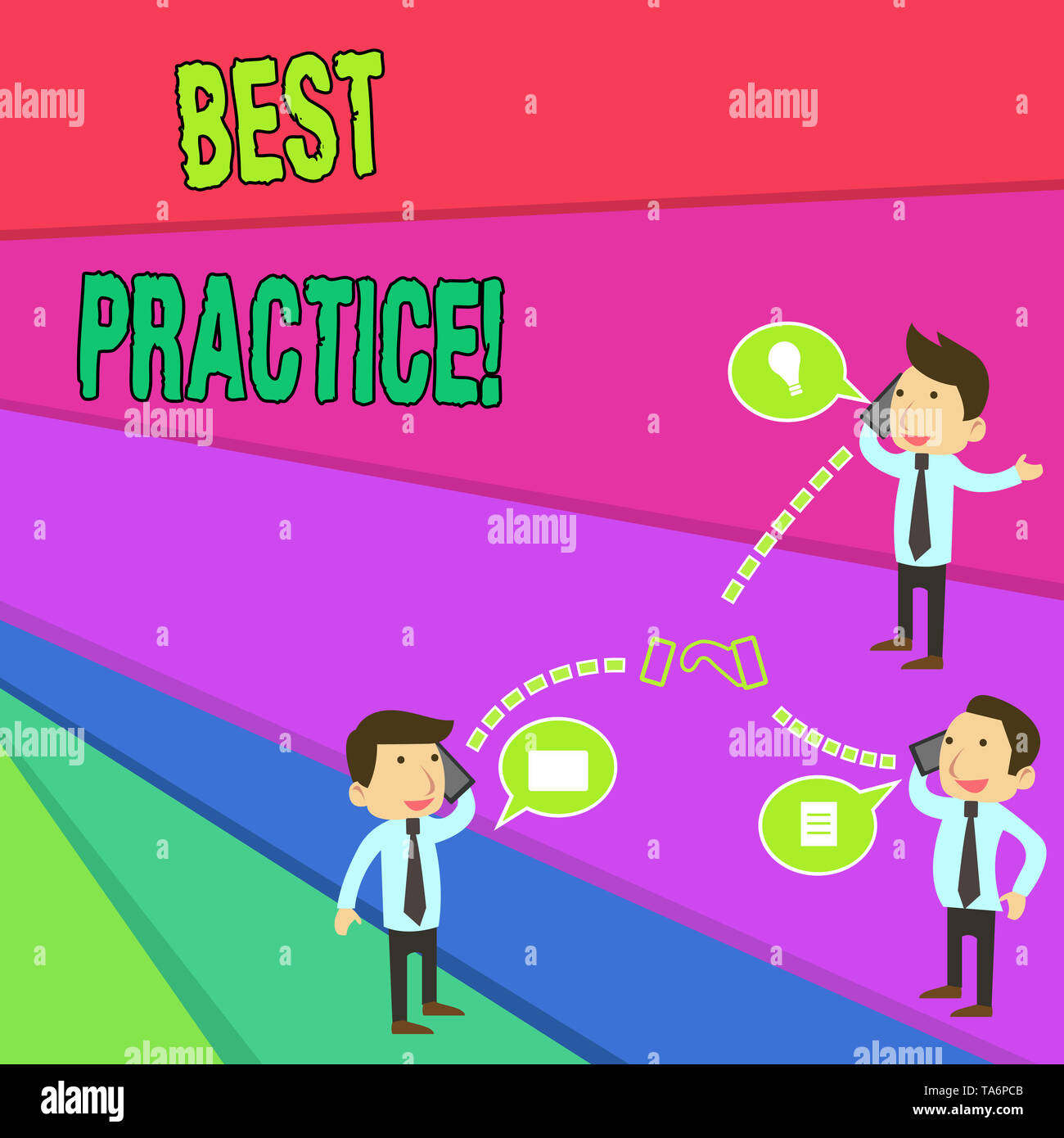Handwriting text Best Practice. Conceptual photo commercial procedures that are accepted prescribed being correct Businessmen Coworkers Conference Cal - Stock Image