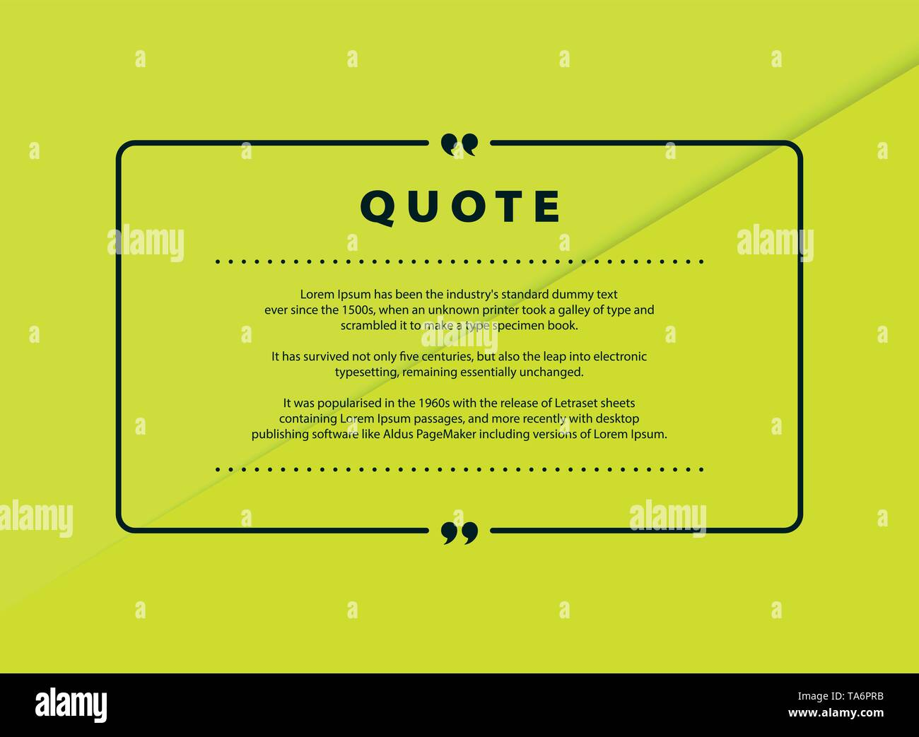 Abstract green paper cut quote vector design for speech text copy template design. You can use for copy space of text, quote design, message, headline - Stock Image