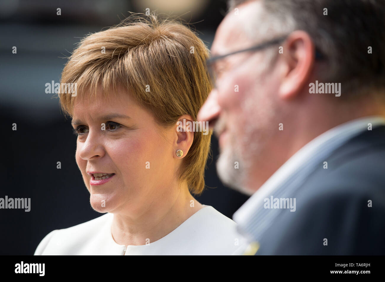 Glasgow, UK. 17 May 2019. Nicola Sturgeon, First Minister and leader of the Scottish National Party, launches the SNP's European Election Manifesto in the Barras in Glasgow's east end today.  The SNP want to stop Brexit and keep ties with our European neighbours and trading partners. Stock Photo