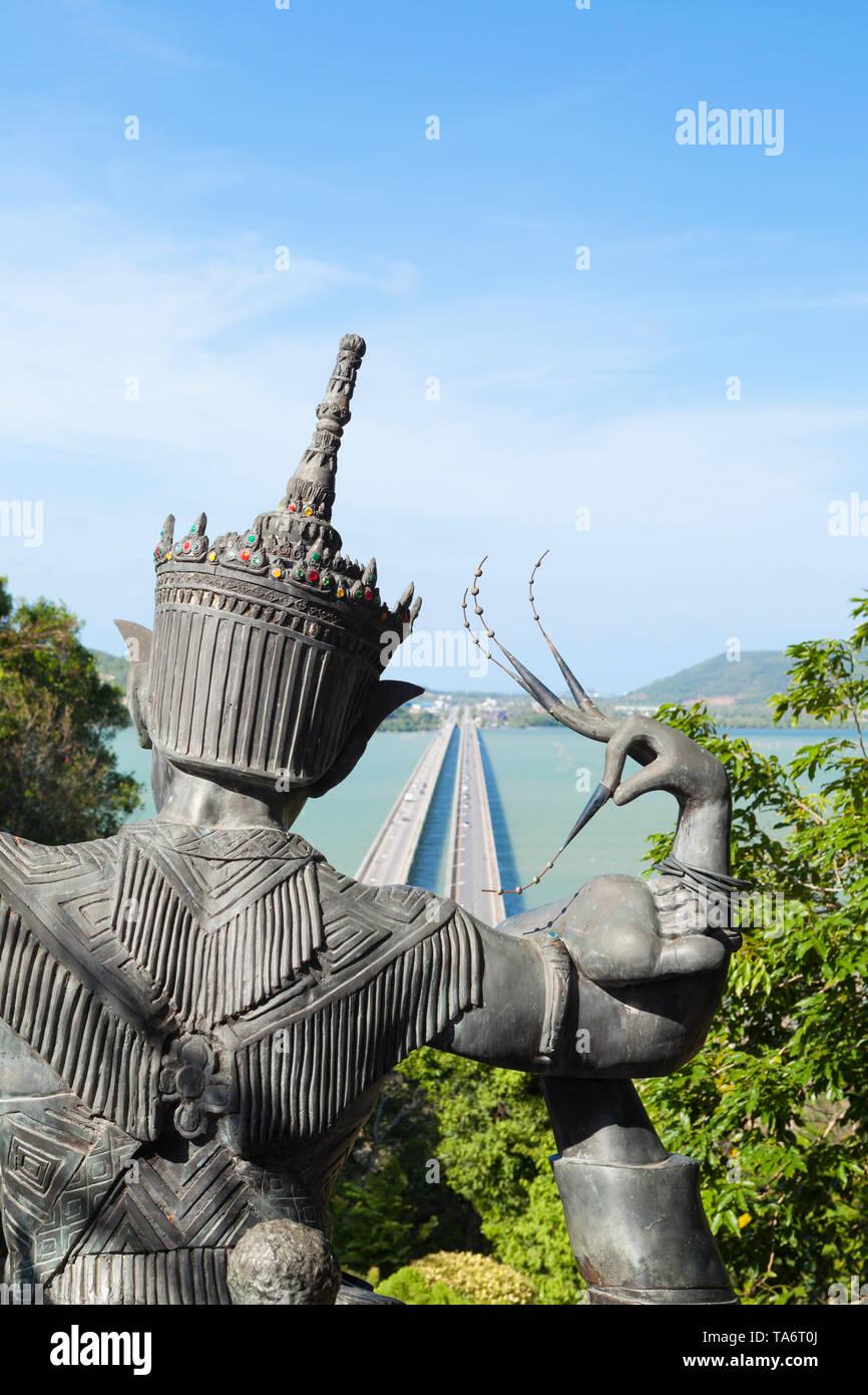 View from Thaksin folklore museum over the Thale Sap and Prem Tinsulanonda Bridge, Ko Yo, Songkhla, Thailand Stock Photo