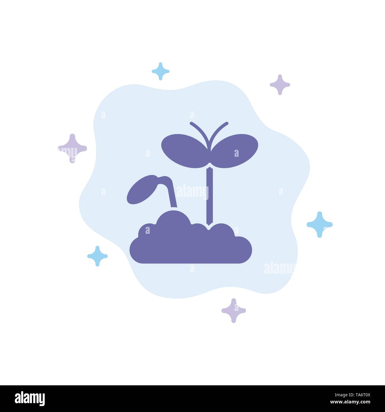 Growth, Increase, Maturity, Plant Blue Icon on Abstract Cloud Background - Stock Image