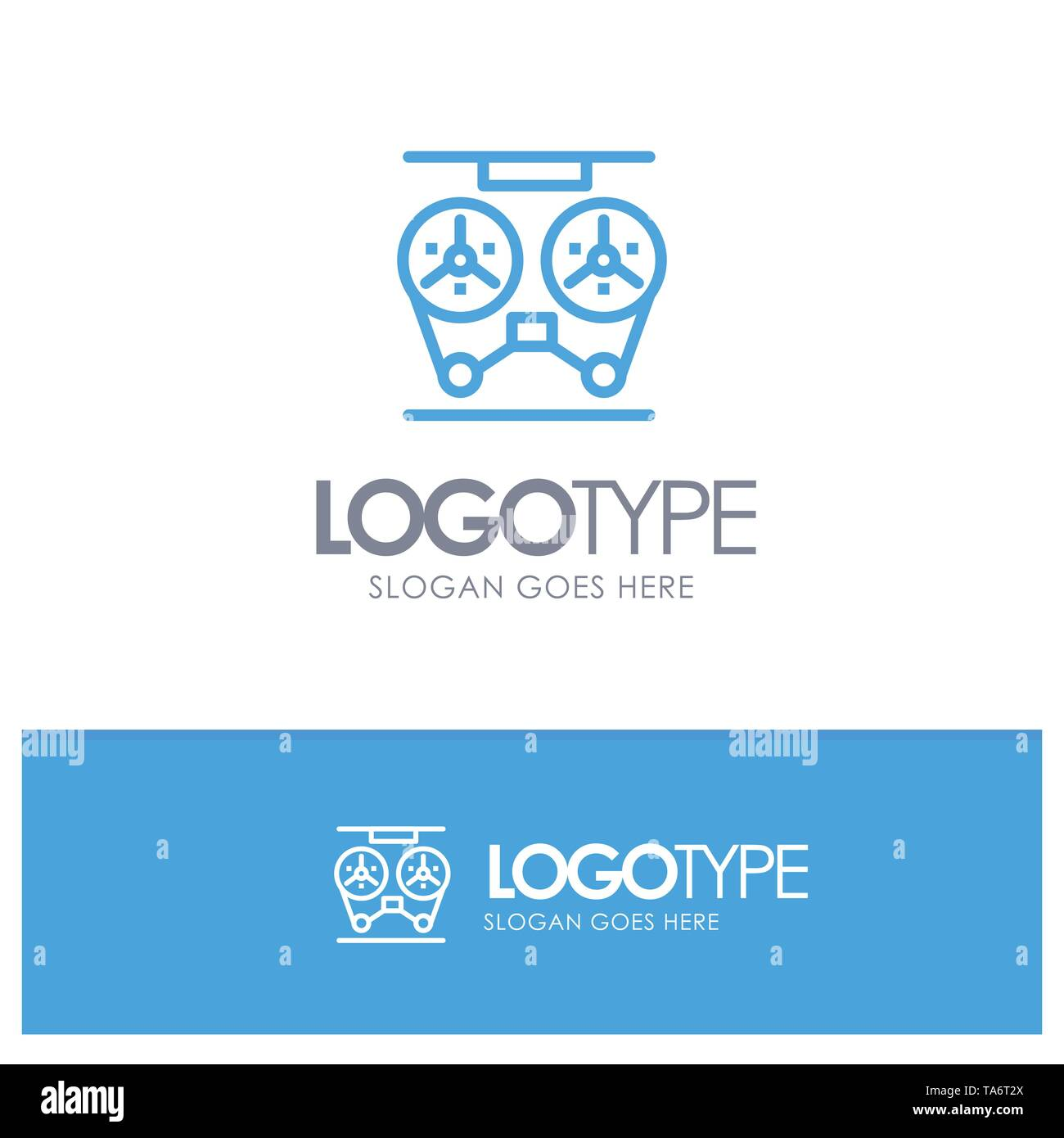 Audio, Player, Record, Recorder, Reel Blue outLine Logo with place for tagline - Stock Image