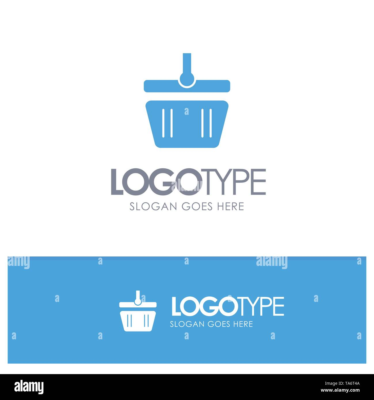 Basket, Cart, Shopping, Spring Blue Solid Logo with place for tagline - Stock Image