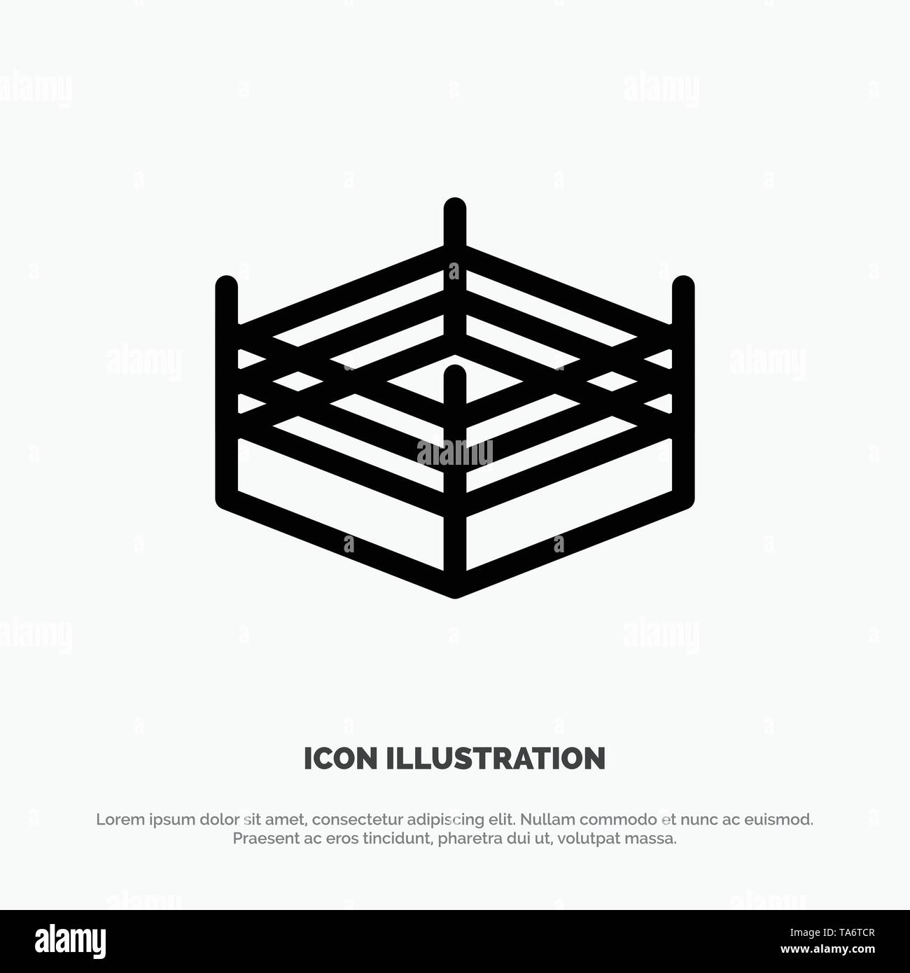 Boxing, Ring, Wrestling Line Icon Vector - Stock Image
