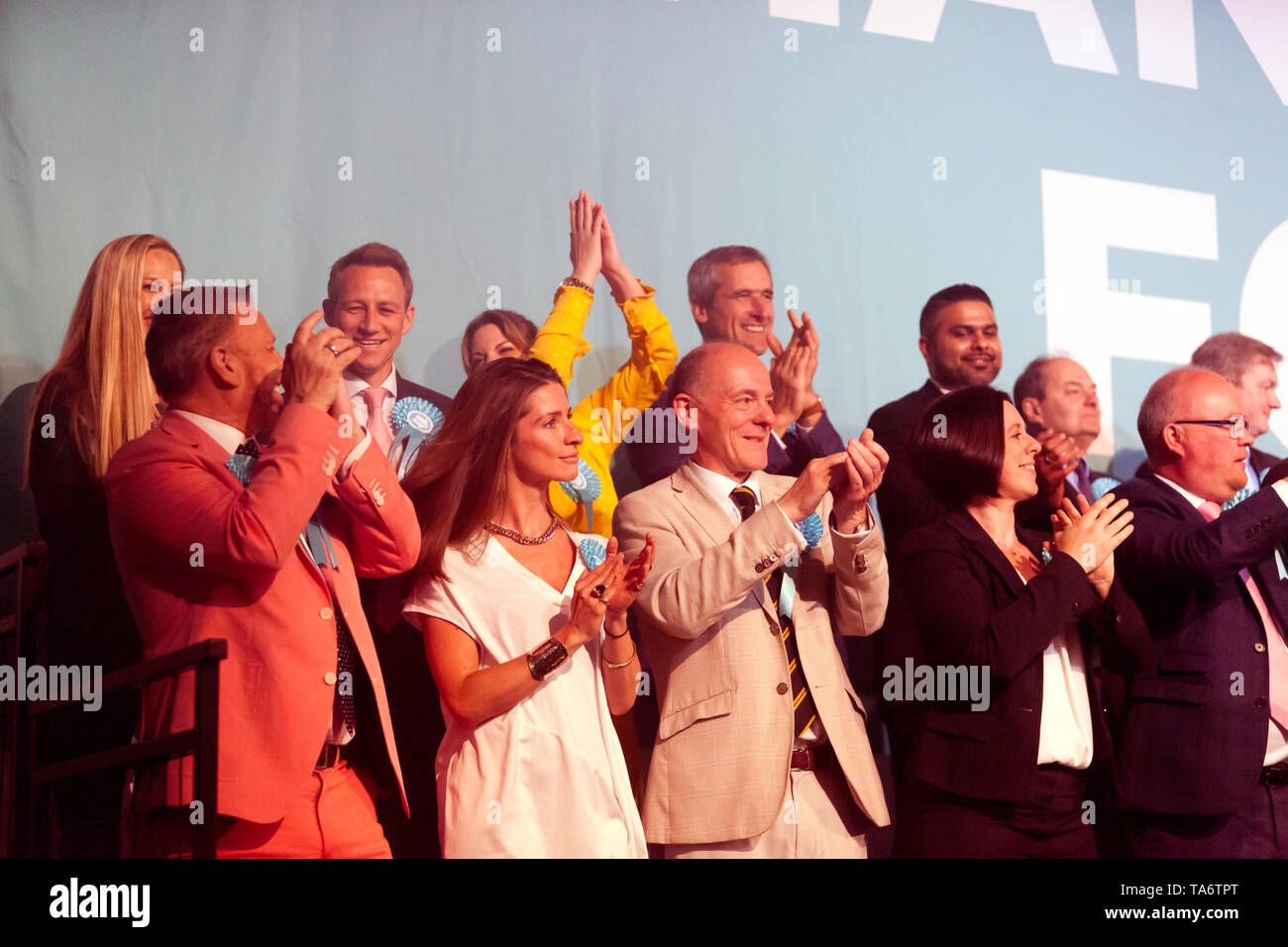 Brexit MEP Candidates, on stage during a Rally at Olympia, London Stock Photo