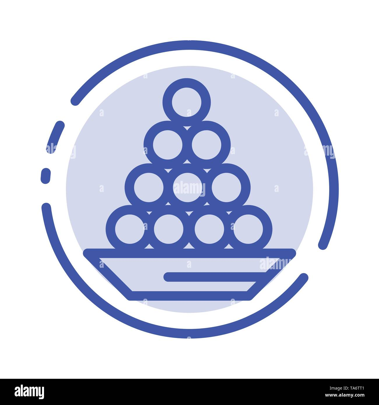 Bowl, Delicacy, Dessert, Indian, Laddu, Sweet, Treat Blue Dotted Line Line Icon - Stock Image