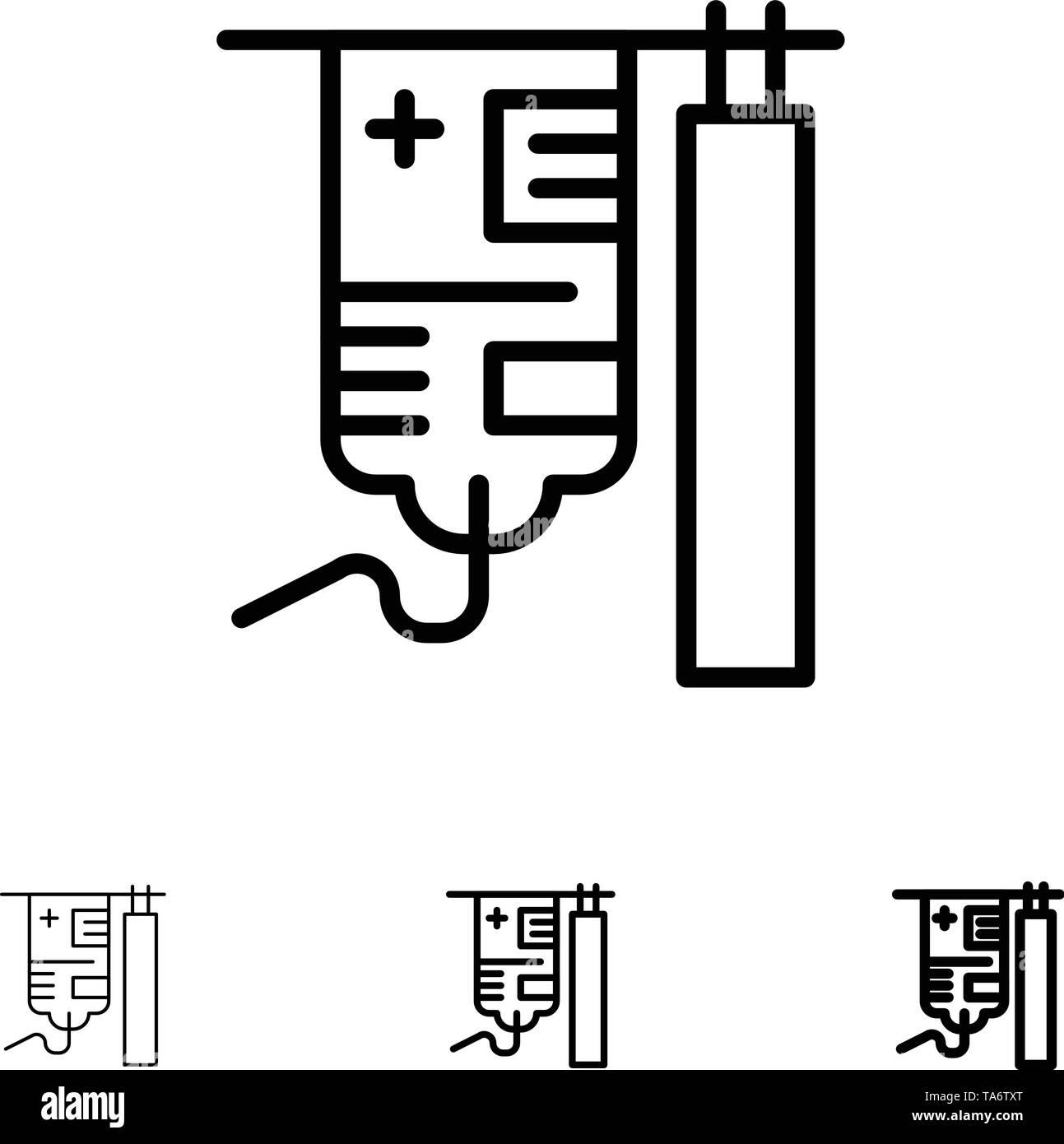 Drip, Hospital, Medical, Treatment Bold and thin black line icon set - Stock Image