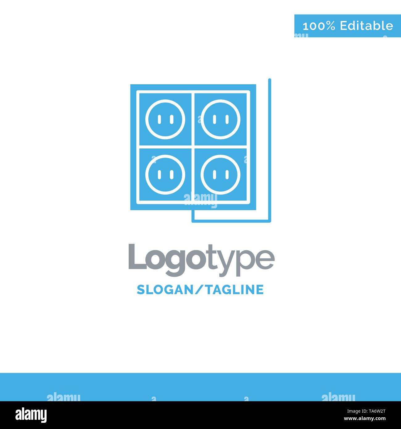 Building, Construction, Plug, Socket, Tool Blue Solid Logo Template. Place for Tagline - Stock Image
