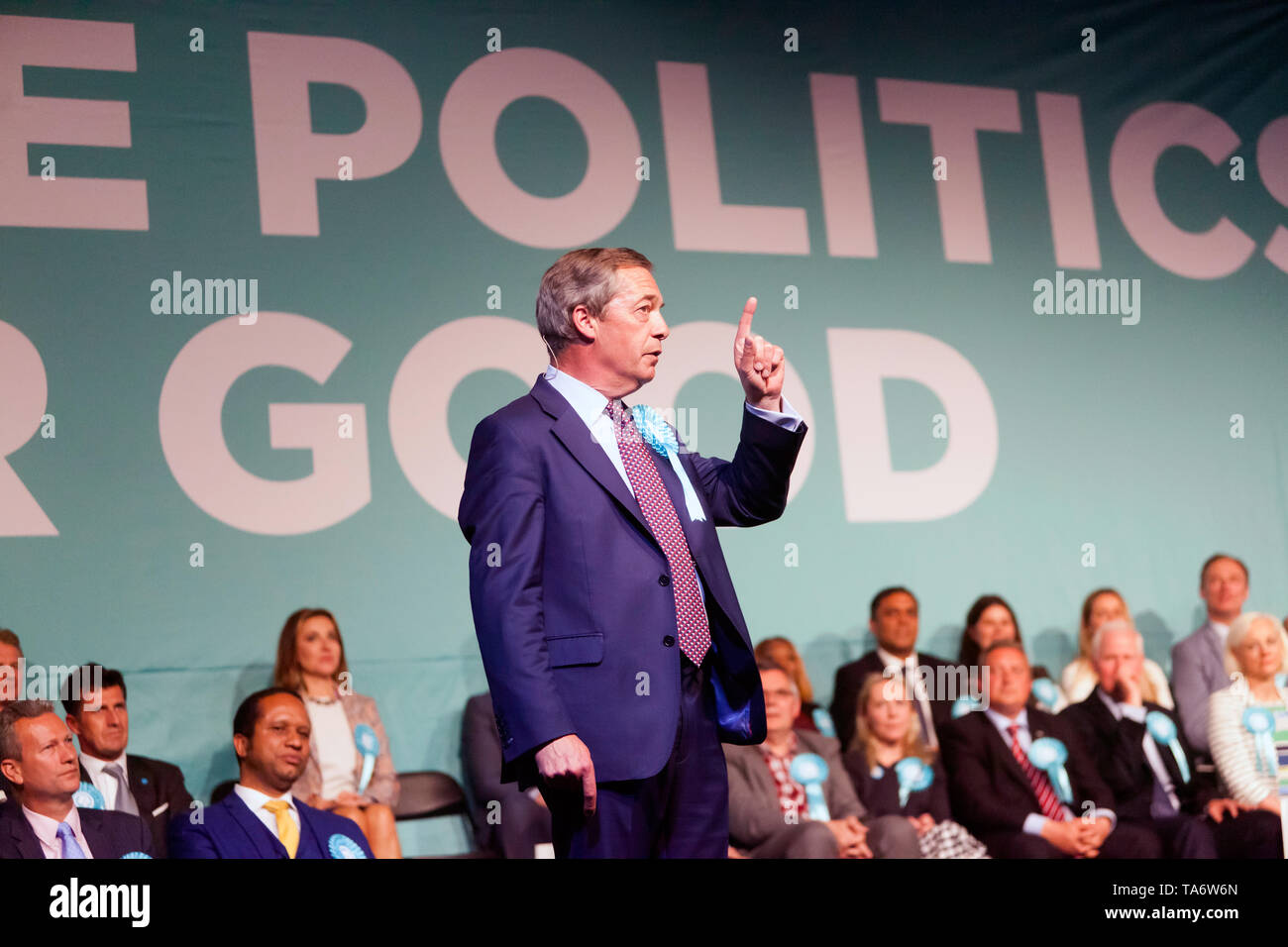 Nigel Farage, Leader of the Brexit Party, addressing a Rally at Olympia, London Stock Photo