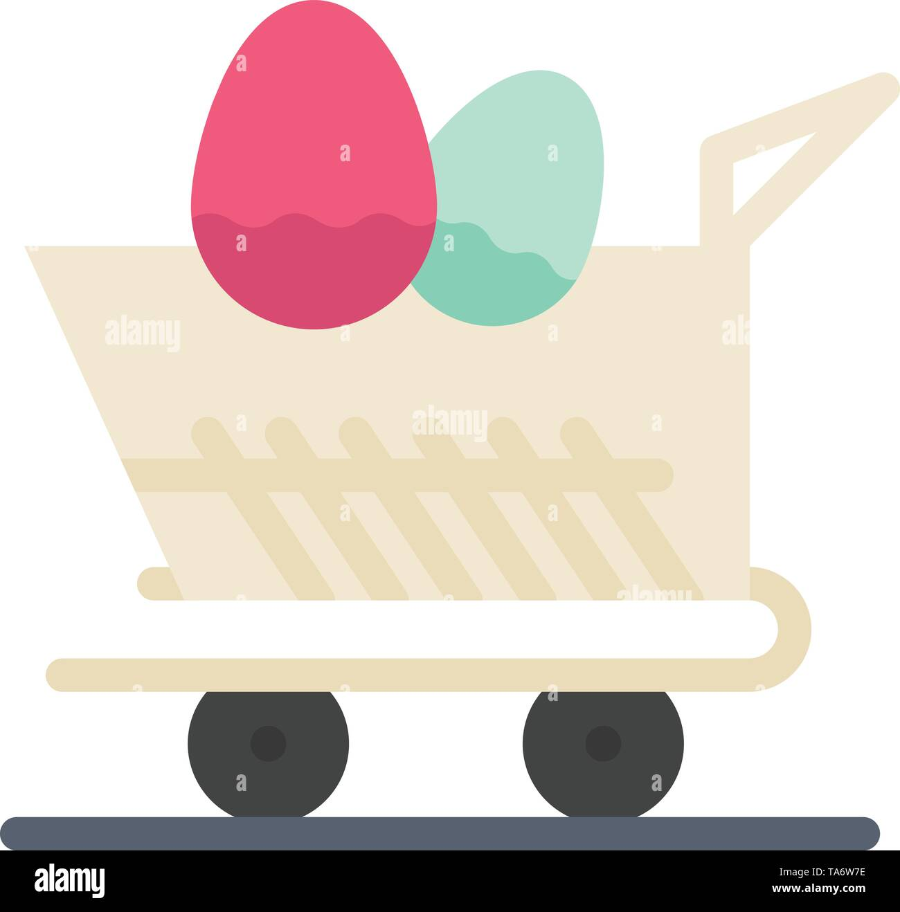 Cart, Trolley, Easter, Shopping  Flat Color Icon. Vector icon banner Template - Stock Image