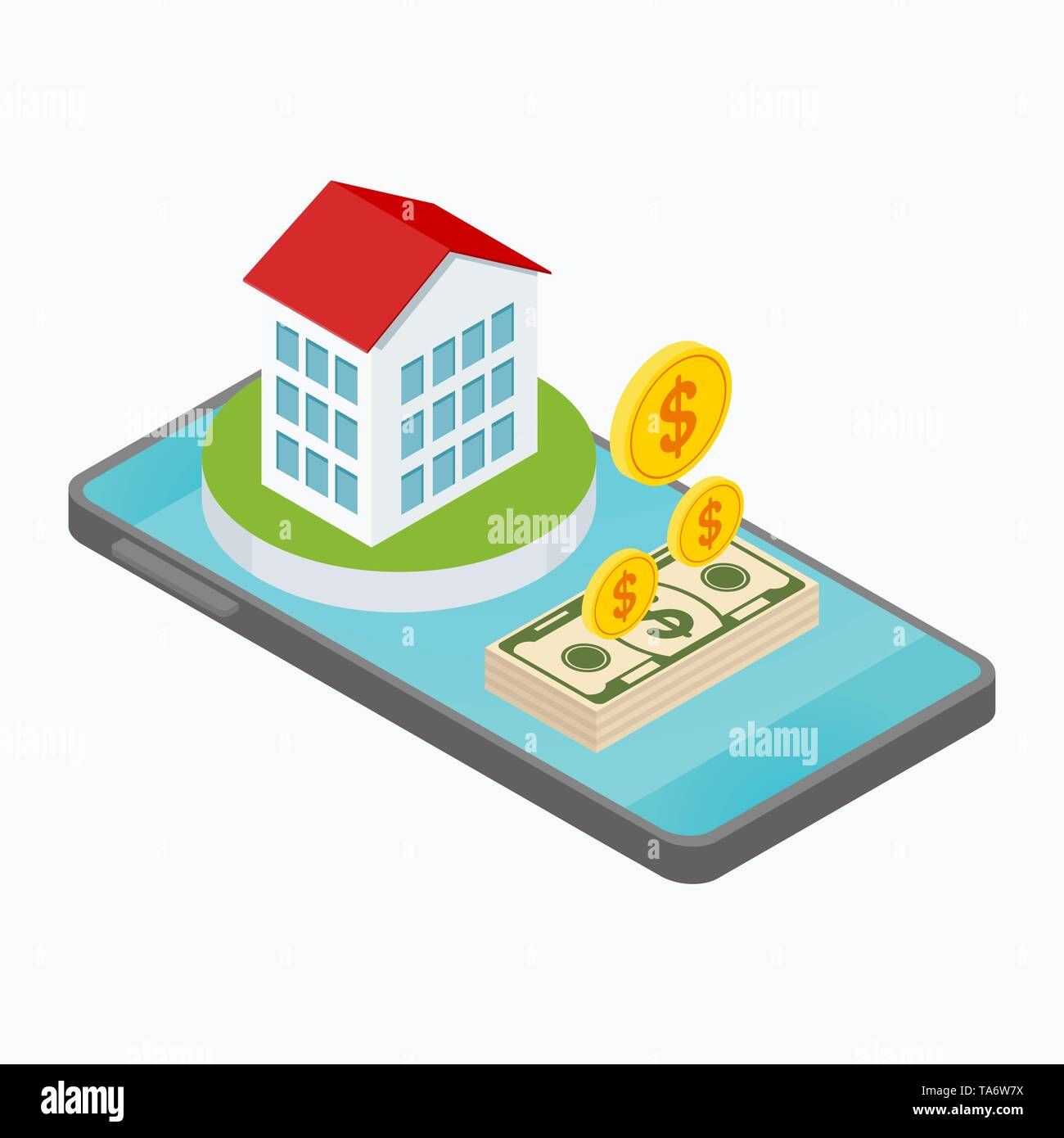 Real estate isometric concept. - Stock Image