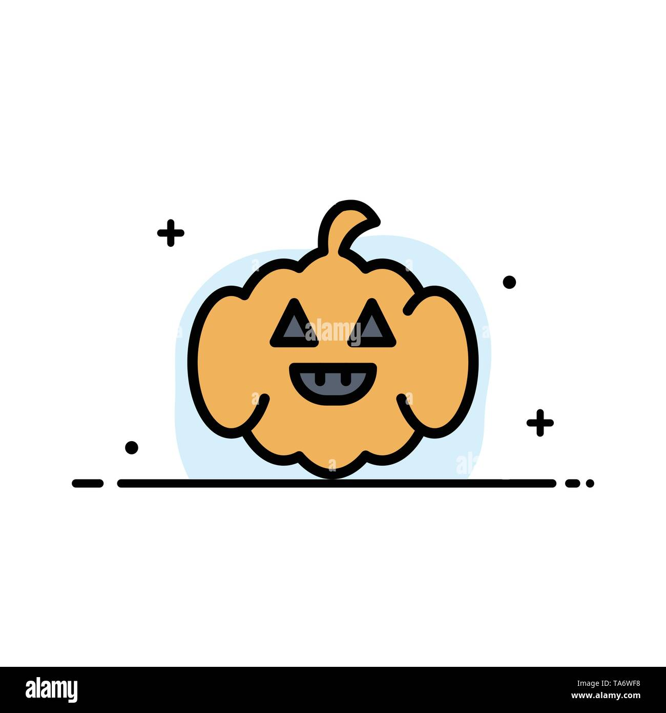 Pumpkin, American, Usa  Business Flat Line Filled Icon Vector Banner Template - Stock Image