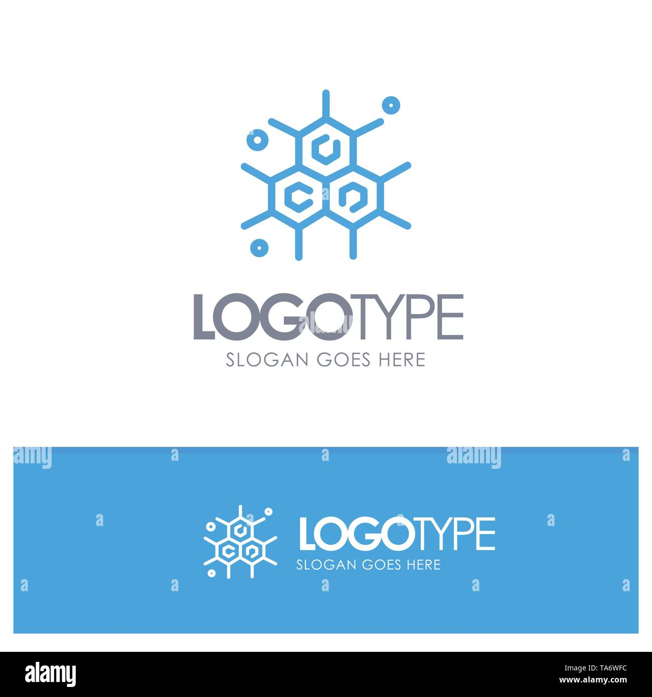 Chemist, Molecular, Science Blue outLine Logo with place for tagline - Stock Vector