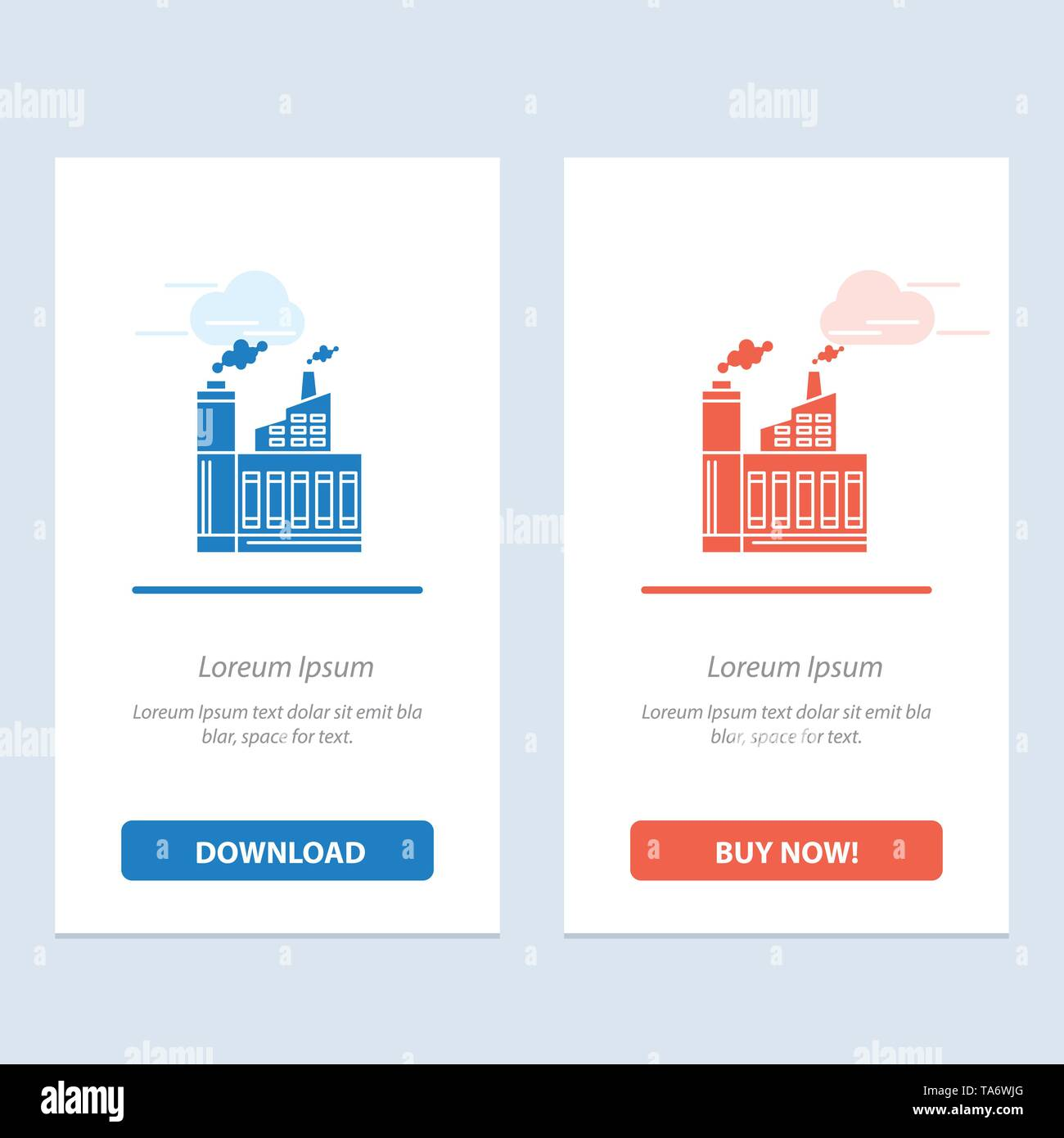 Industry, Building, Construction, Factory, Smoke  Blue and Red Download and Buy Now web Widget Card Template - Stock Image