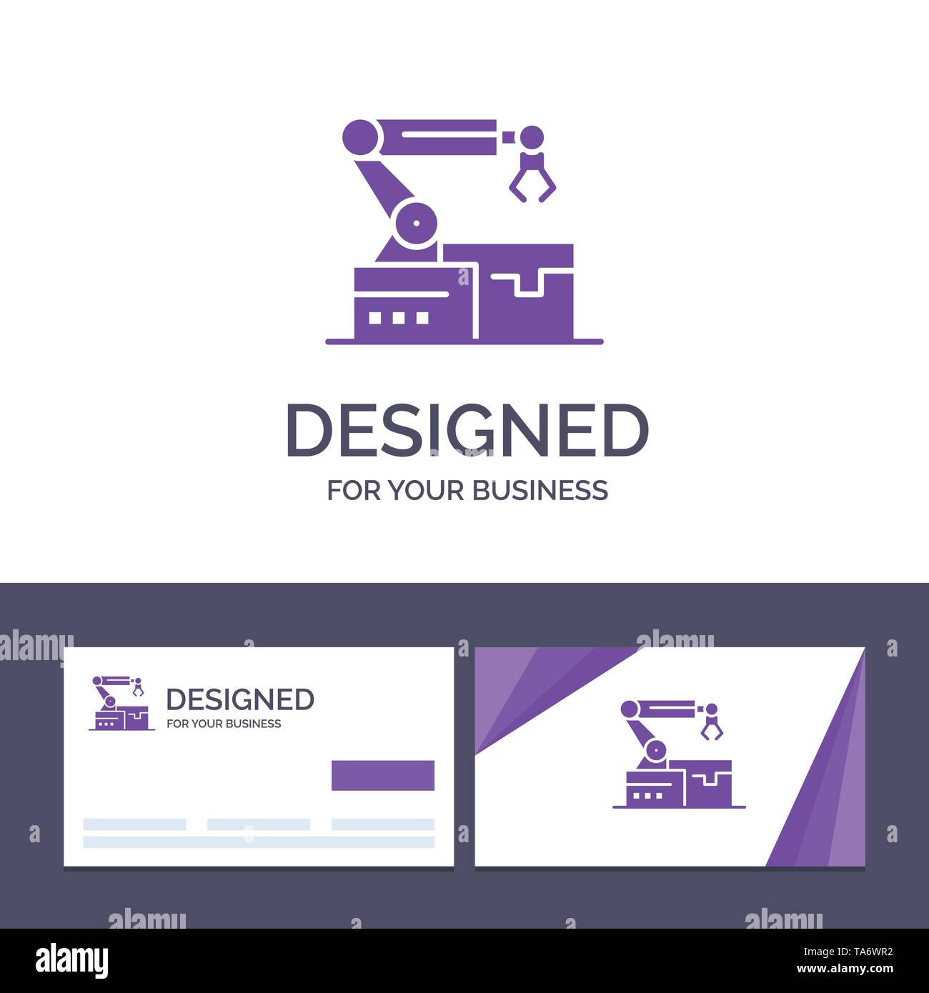 Creative Business Card and Logo template Automated, Robotic, Arm, Technology Vector Illustration - Stock Image