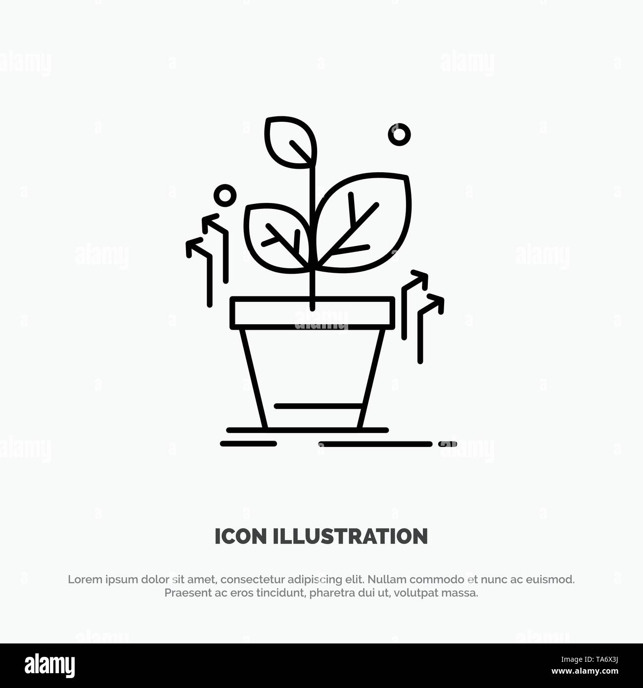 Plant, Grow, Grown, Success Line Icon Vector - Stock Image