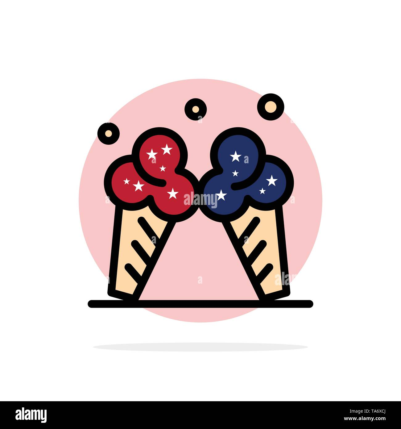 Ice cream, Ice, Cream, American Abstract Circle Background Flat color Icon - Stock Image