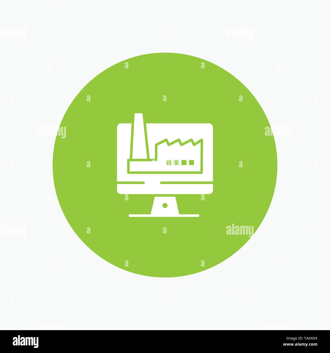 Computer, Building, Monitor, Factory white glyph icon - Stock Image
