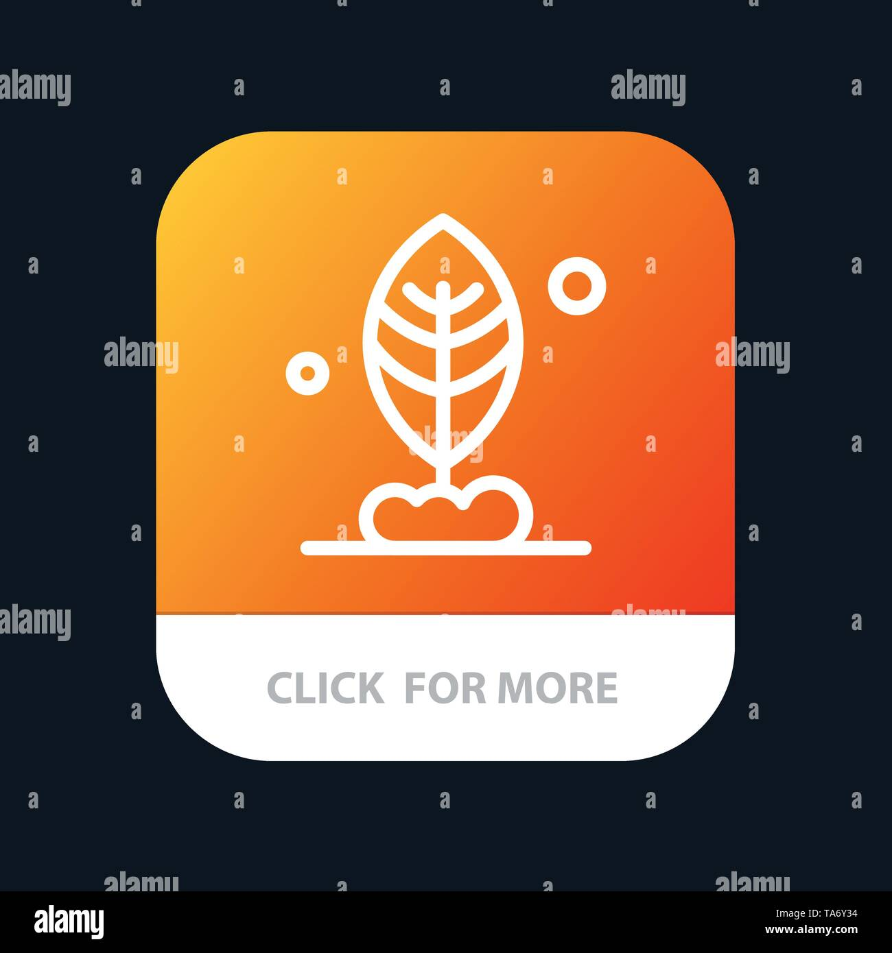 Leaf, Plant, Motivation Mobile App Button. Android and IOS Line Version - Stock Image