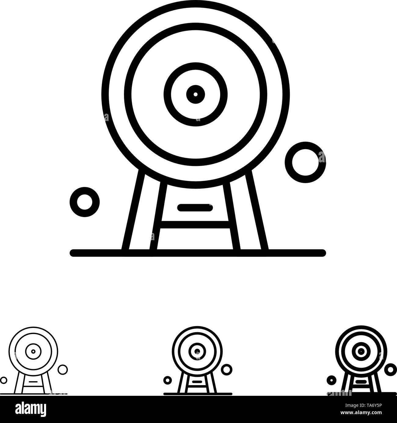 Architecture, England, Ferris Wheel, Landmark, London Eye, Bold and thin black line icon set - Stock Image