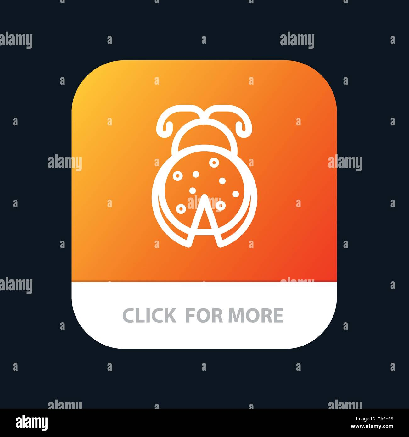 Bug, Insect, Ladybug, Spring Mobile App Button. Android and IOS Line Version - Stock Image