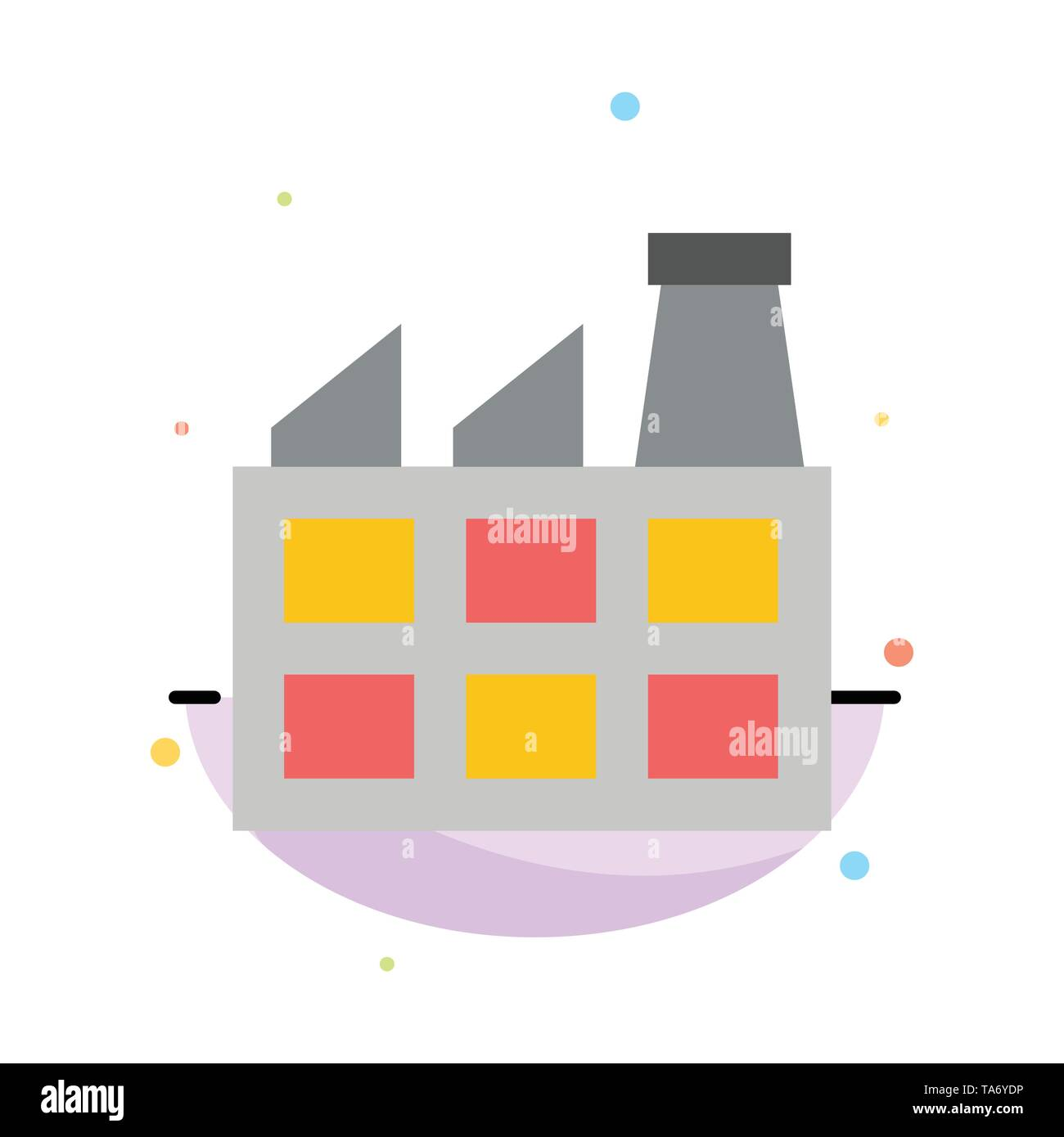 Construction, Factory, Industry Abstract Flat Color Icon Template - Stock Image