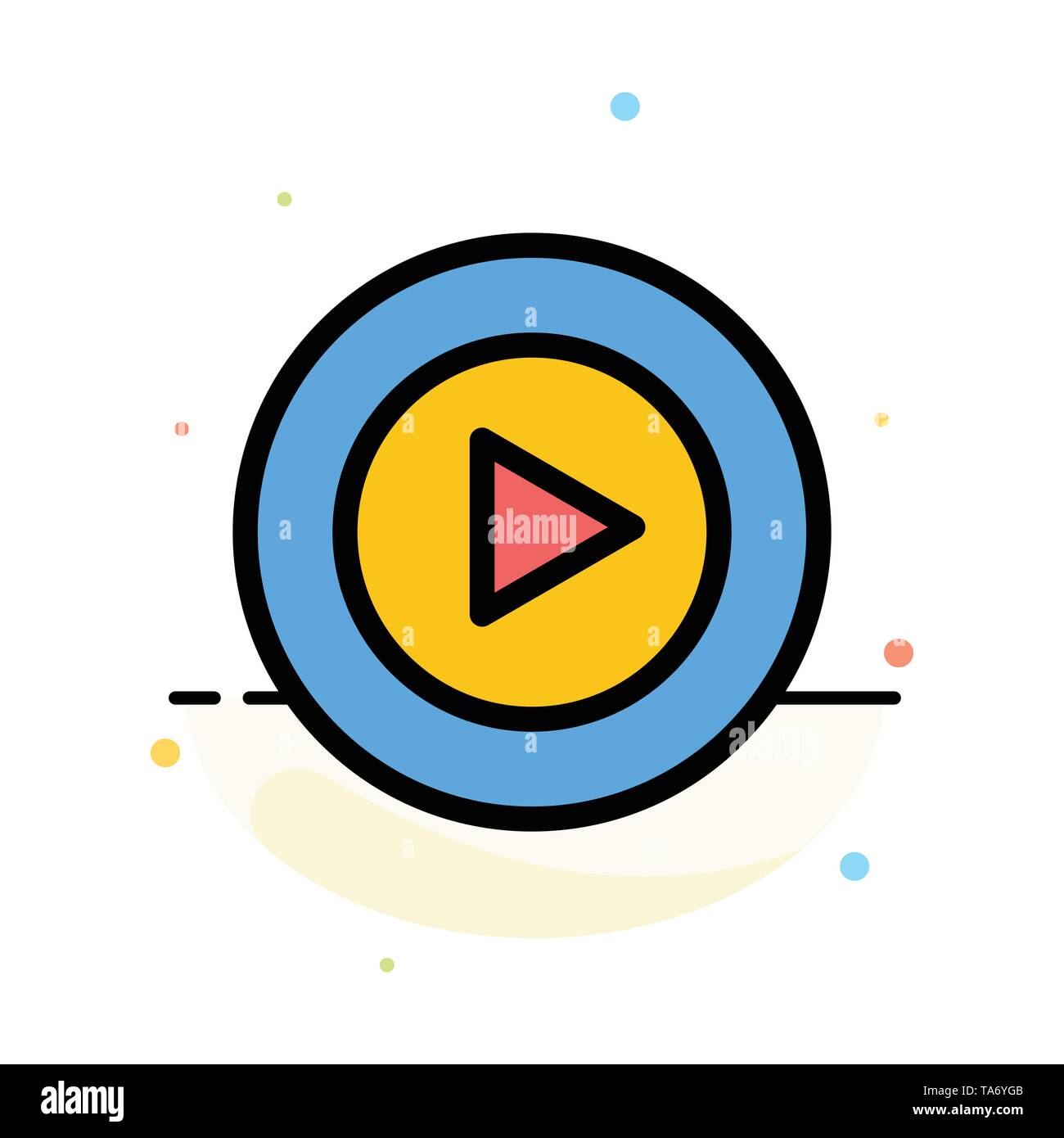 Studio, Play, Video, mp4 Abstract Flat Color Icon Template - Stock Image