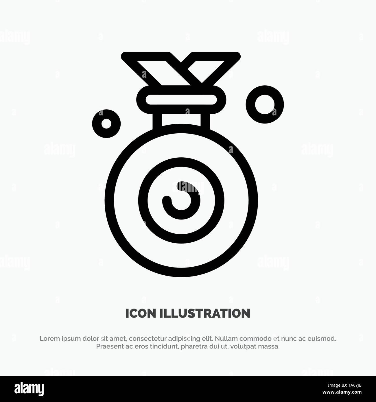 Medal, Olympic, Winner, Won Line Icon Vector - Stock Vector