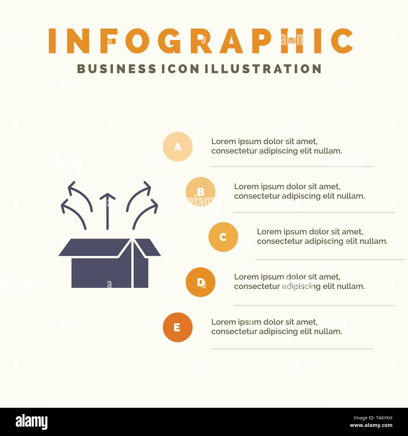 Release, Box, Launch, Open Box, Product Solid Icon Infographics 5 Steps Presentation Background - Stock Image