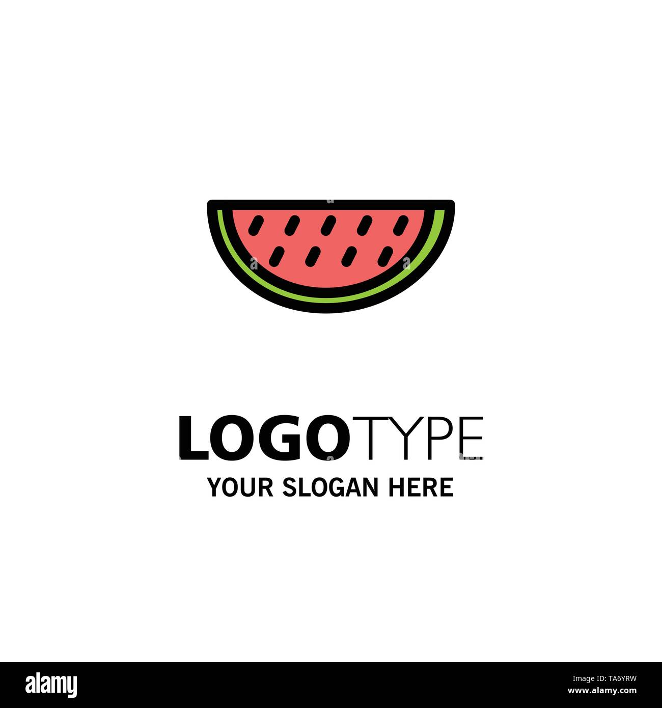 Fruits, Melon, Summer, Water Business Logo Template. Flat Color - Stock Image