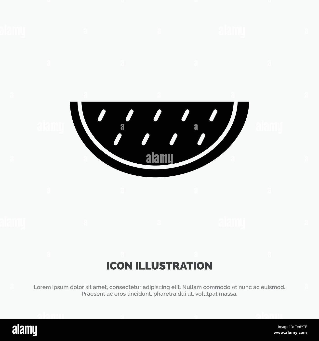 Fruits, Melon, Summer, Water solid Glyph Icon vector - Stock Image