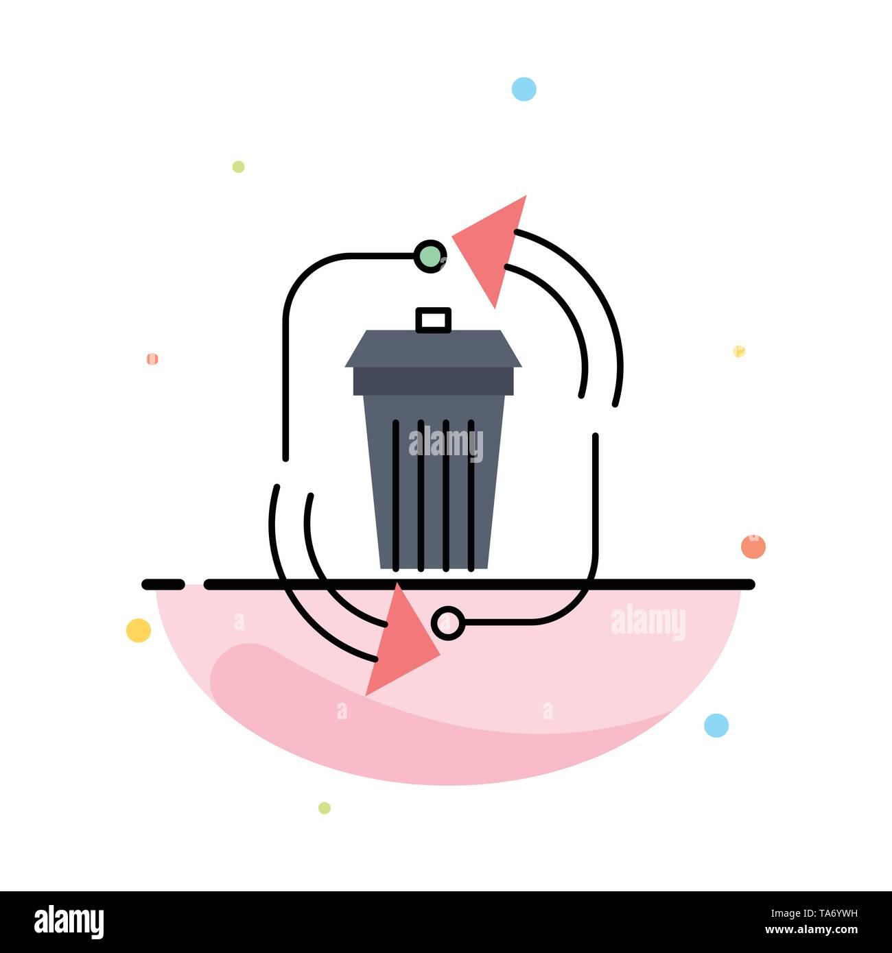 waste, disposal, garbage, management, recycle Flat Color Icon Vector - Stock Image
