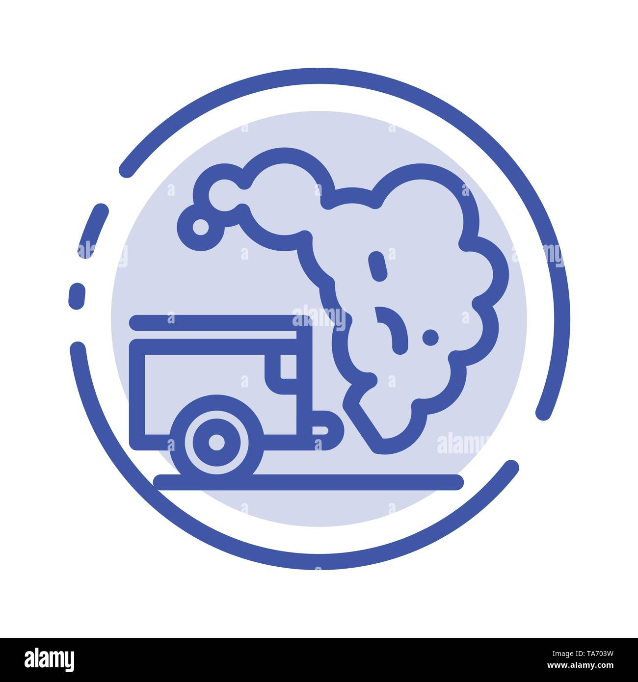 Dump, Environment, Garbage, Pollution Blue Dotted Line Line Icon - Stock Image