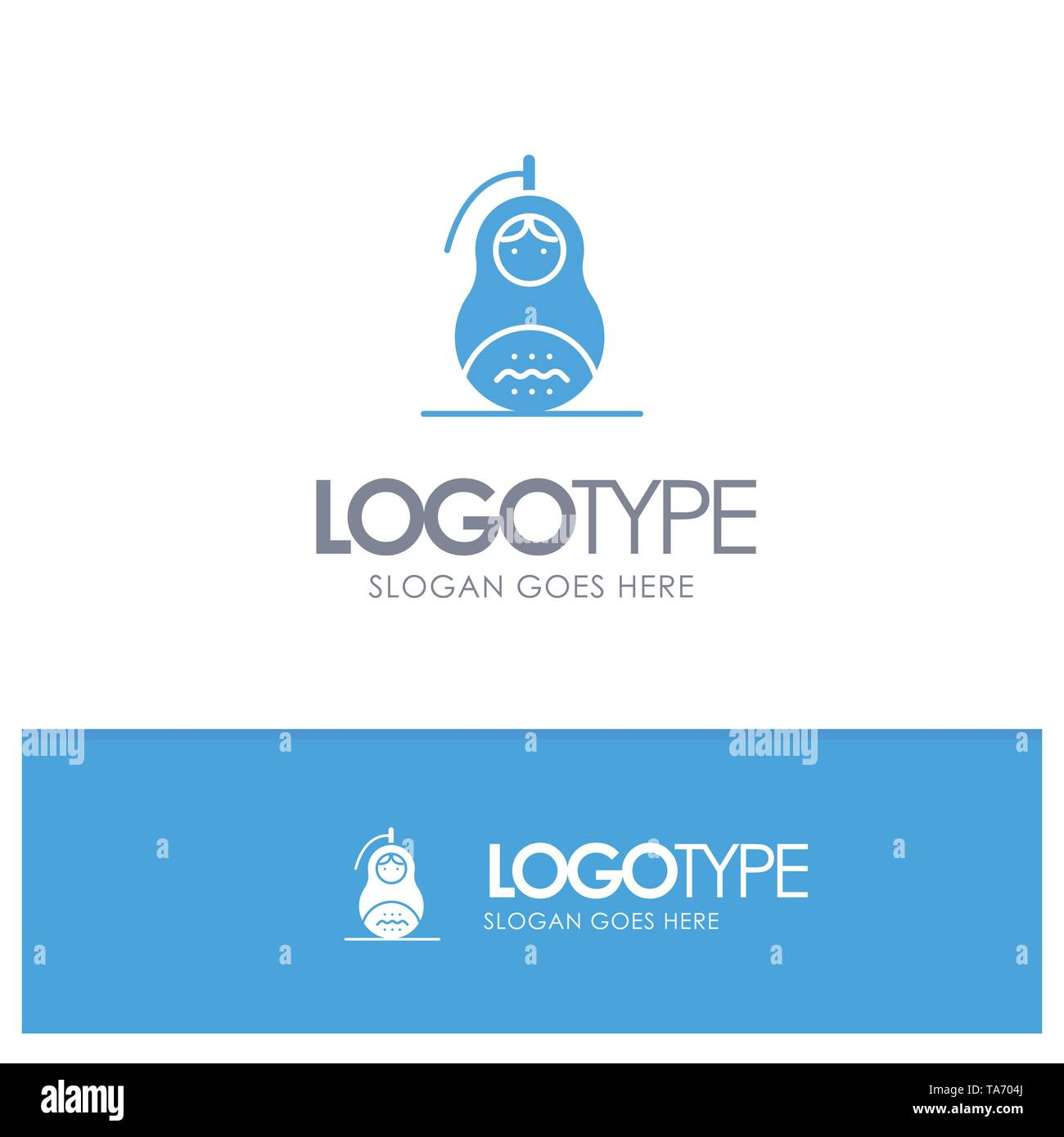 Fraud, Grenade, Matrioshka, Peace, Russia Blue Solid Logo with place for tagline - Stock Vector