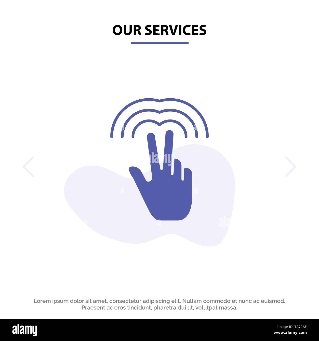 Our Services Double, Gestures, Hand, Tab Solid Glyph Icon Web card Template - Stock Image