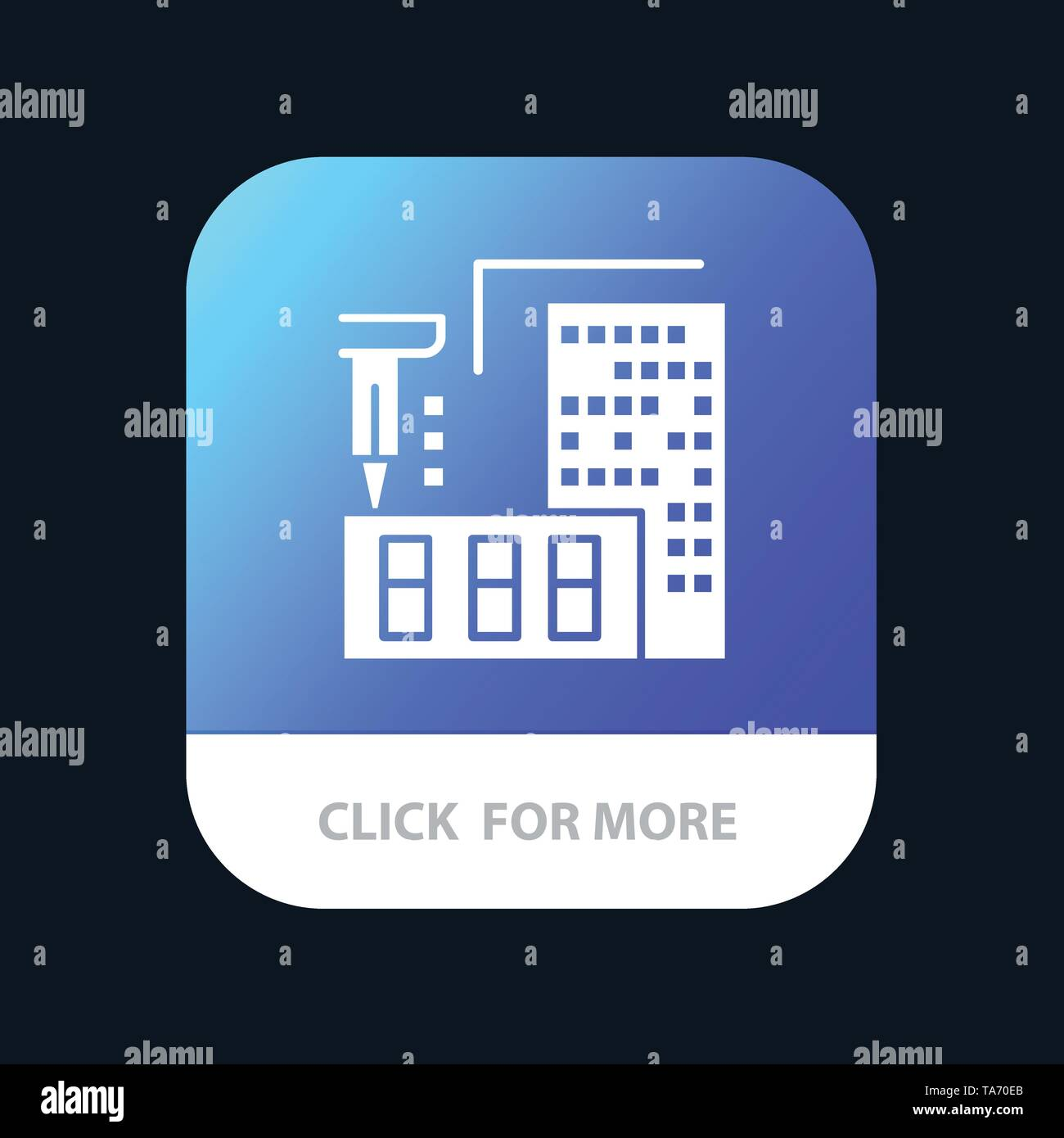3d, Architecture, Construction, Fabrication, Home Mobile App Button. Android and IOS Glyph Version - Stock Image