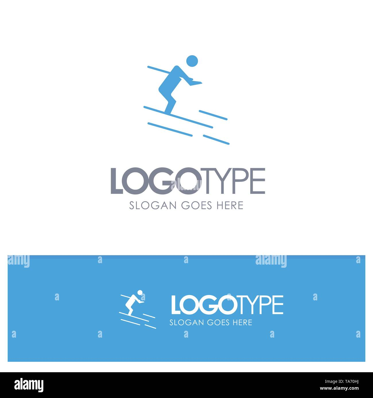 Activity, Ski, Skiing, Sportsman Blue Solid Logo with place for tagline - Stock Image