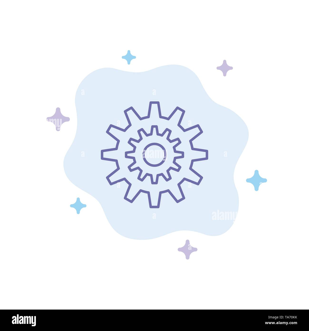 Settings, Cog, Gear, Production, System, Wheel, Work Blue Icon on Abstract Cloud Background - Stock Image