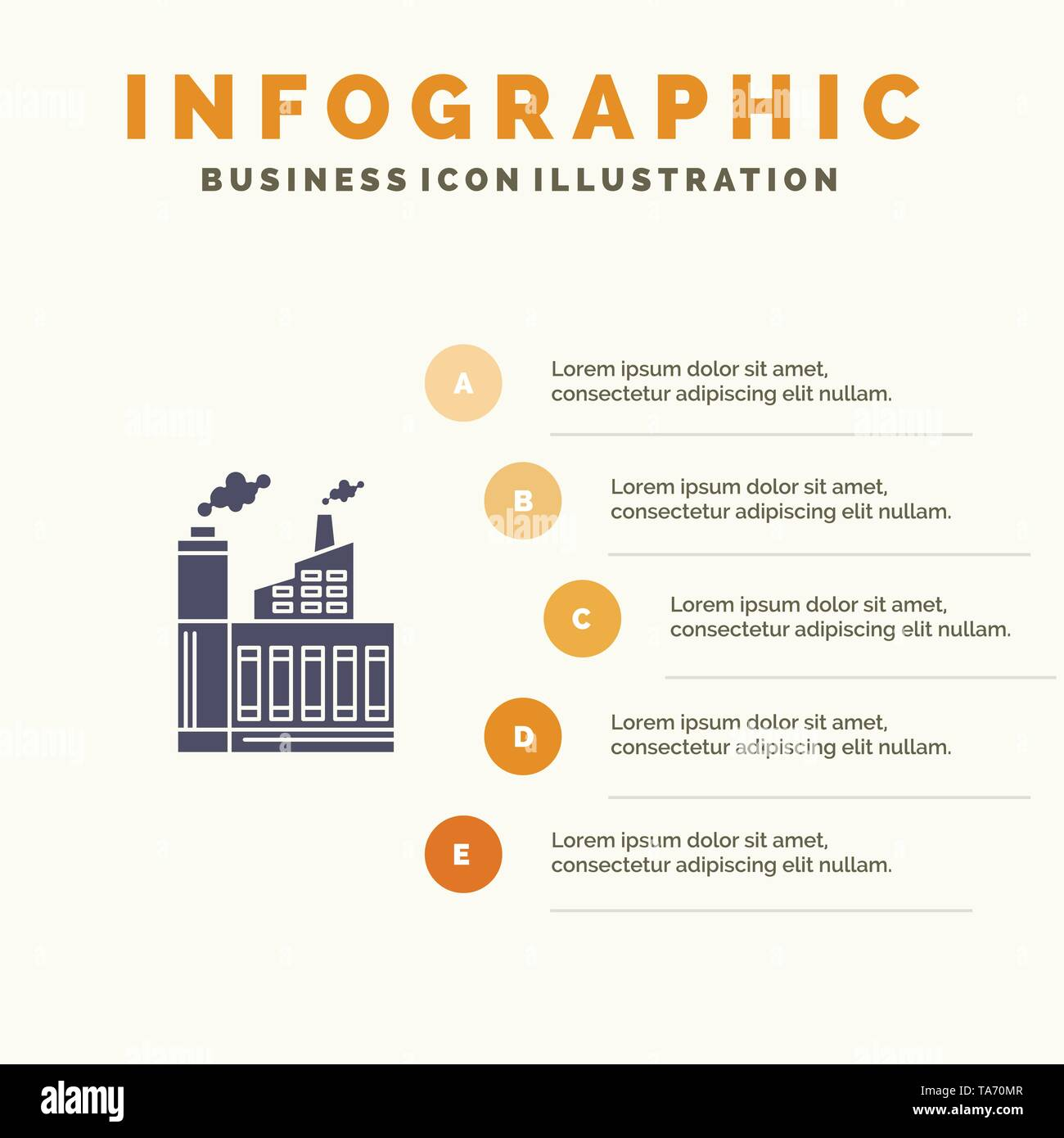 Industry, Building, Construction, Factory, Smoke Solid Icon Infographics 5 Steps Presentation Background - Stock Image
