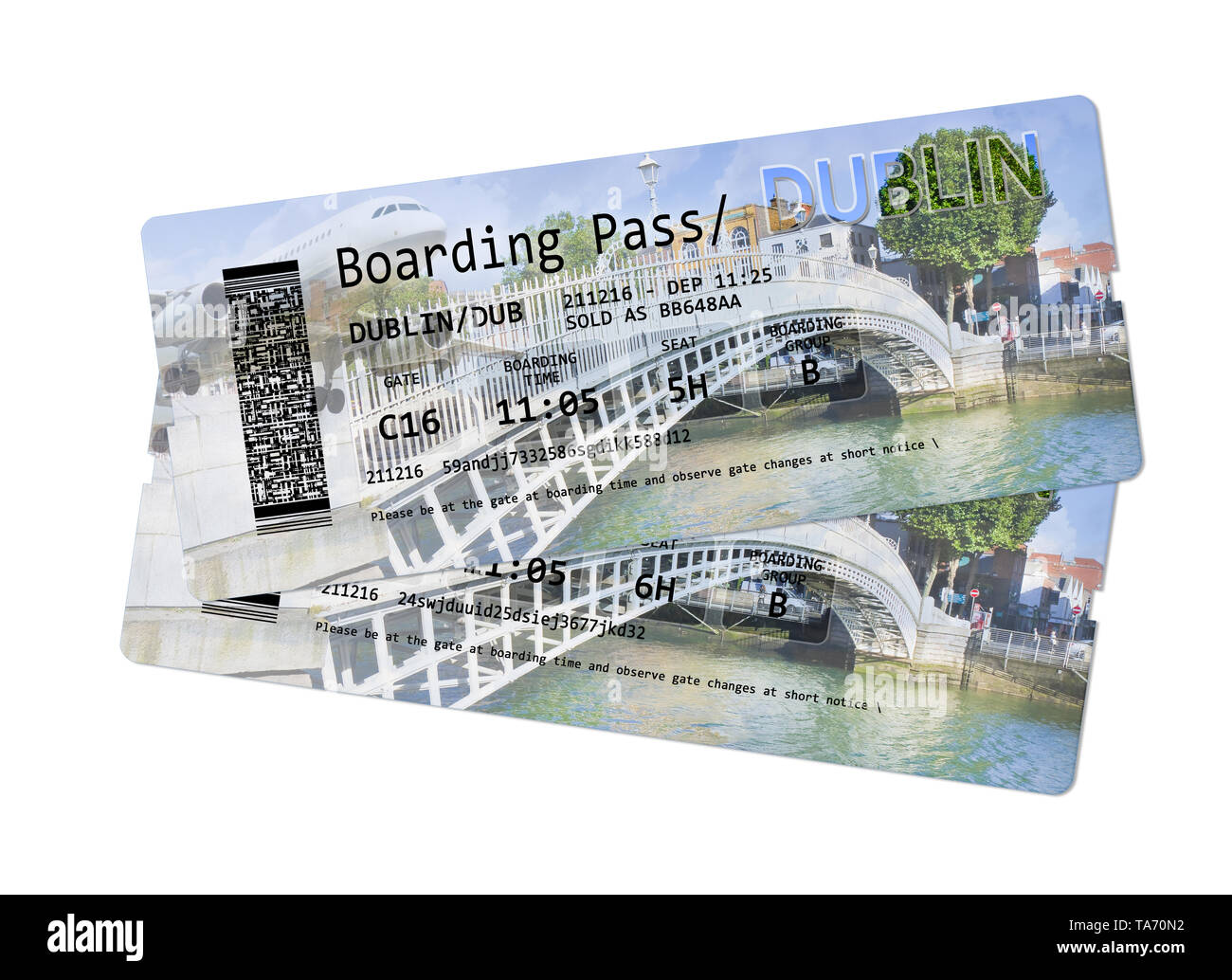 Airline boarding pass tickets to Dublin - The most famous bridge in Dublin called 'Half penny bridge' on background - Stock Image