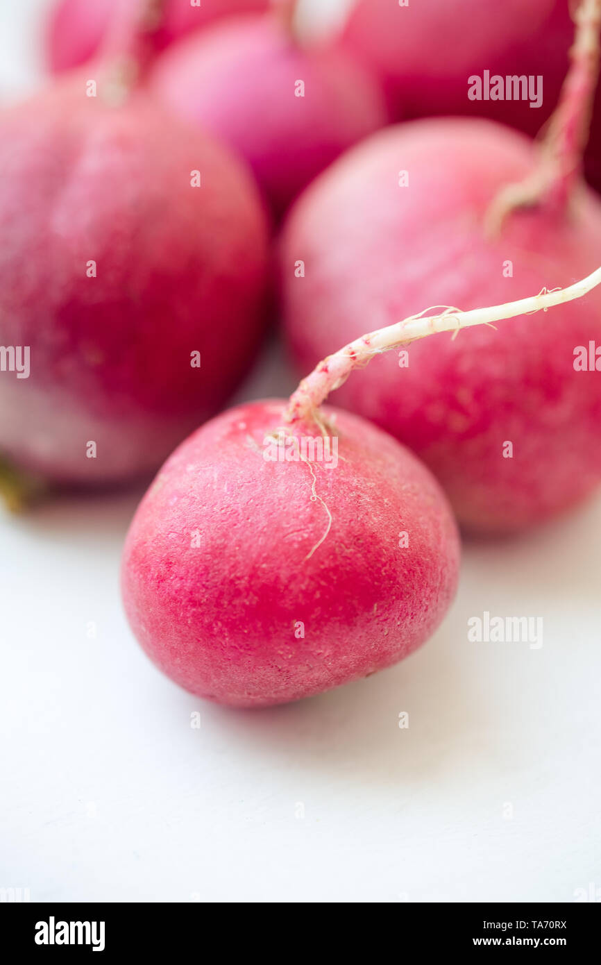 several ripe radishes on a white table. - Stock Image